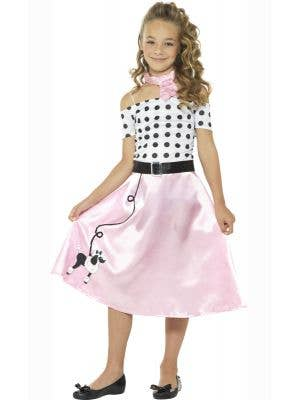 Girls Pink 1950's Poodle Dress Book Week Costume Front