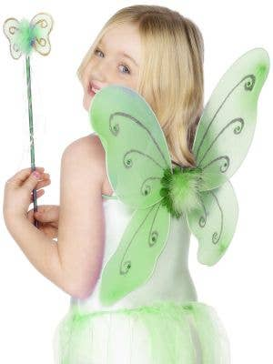 Girls Green Butterfly Wings and Wand Costume Accessory Set Main Image