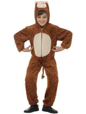 Kid's Cheeky Little Monkey Animal Costume Onesie with Hood Main Image