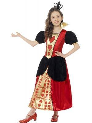 Girls Queen of Hearts Fancy Dress Costume Front View