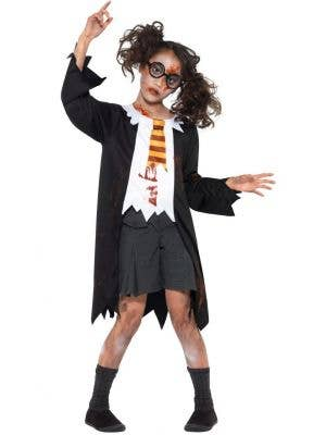 Girls Zombie Hogwarts Student Halloween Costume Front Image