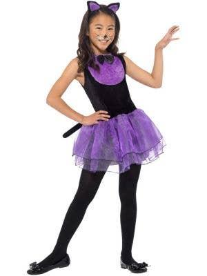 Cute Purple Cat Girls Halloween Costume