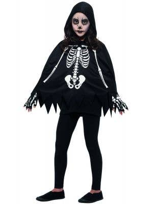 Kids Skeleton Cape and Gloves Halloween Costume Front Image