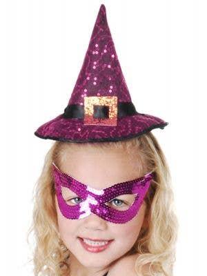 Purple Sequined Mini Witch Hat On Headband