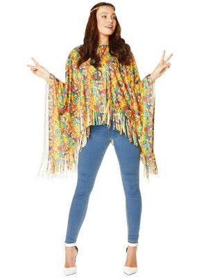 Flower Power Poncho Multi Colour Hippie Womens Costume Poncho Hippie Clothes - Main Image