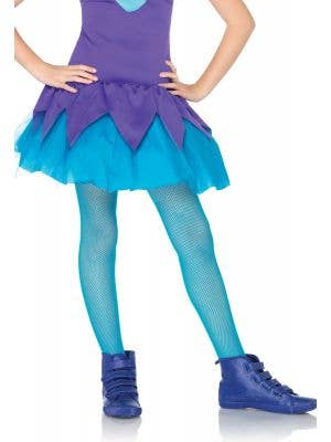 Girls Blue Fishnet Novelty Costume Tights by Leg Avenue
