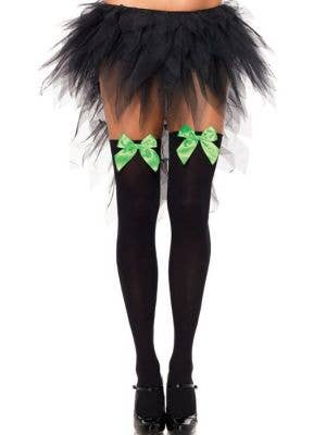 Opaque Black Thigh High Stockings with Green Satin Bows