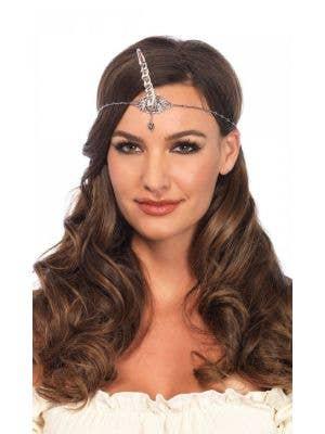 Unicorn Horn Jewelled Silver Headpiece Costume Accessory