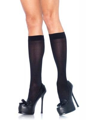 Black Opaque Knee High Costume Stockigns