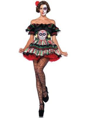 Women's Sexy Day of The Dead Sugar Skull Costume Main Image