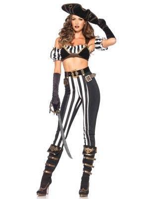 Women's Sexy Black Beauty Pirate Fancy Dress Costume Front View