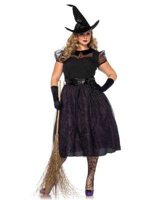 Plus Size Women's Deluxe Black Witch Costume Main Image