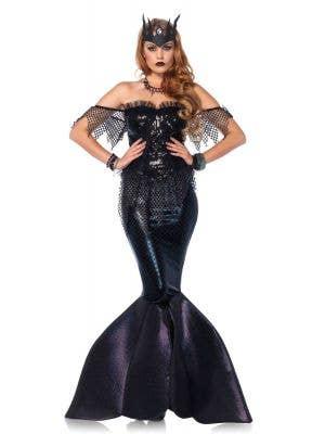 Sexy Women's Black Mermaid Halloween Costume Front View