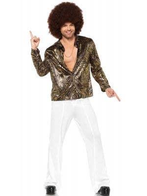 Black and Gold Zebra Print Disco Shirt for Men Main Front Image