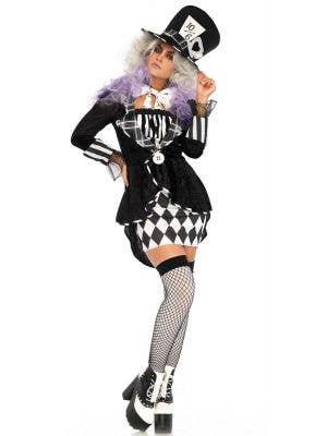 Women's Dark Mad Hatter Halloween Costume Front Image
