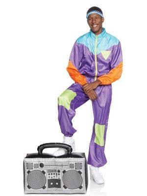 Retro 1980's Men's Purple Track Suit Costume