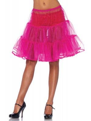 Hot Pink Knee Length Costume Petticoat Front View