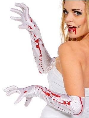 Blood Splattered Long White Halloween Gloves