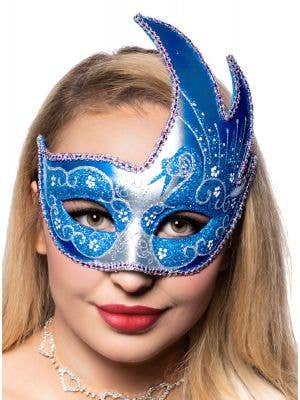 Women's Swan Venetian Masquerade Mask In Silver And Blue Glitter Main Image