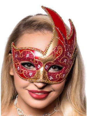 Venetian Swan Red And Gold Glitter Masquerade Costume Mask Main View