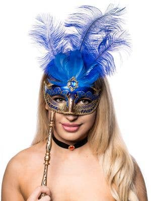 Hand Held Blue And Gold Tall Feather Masquerade Mask Front On