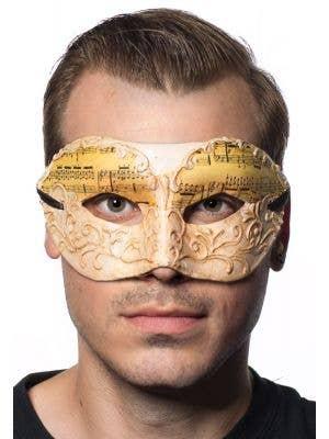 Men's Music Notes White Antique Venetian Mask Main Image