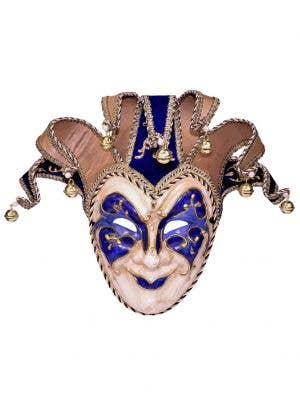Adults Blue And Gold Full Face Jester Masquerade Mask Main Image
