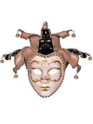 Women's Cream Deluxe Full Face Venetian Jester Mask Main Image