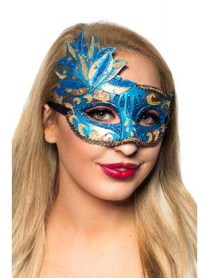 Blue And Gold Women's Side Overly Masquerade Mask Main Image