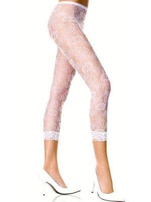 Three Quarter Length White Floral Lace Leggings