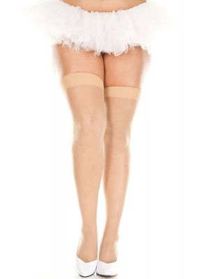 Plus Size Beige Sheer Thigh High Costume Stockings