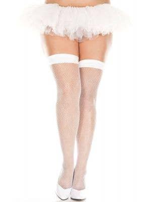 Plus Size Women's White Fishnet Thigh High Stockings