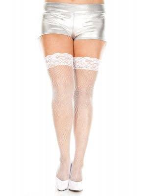 White Plus Size Fishnet Costume Stockings