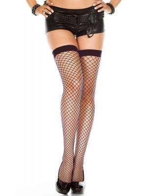 Black Diamond Net Thigh High Costume Stockings