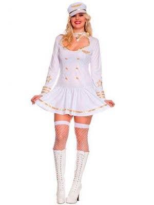 Plus Size Women's Stewardess White Costume Uniform Front