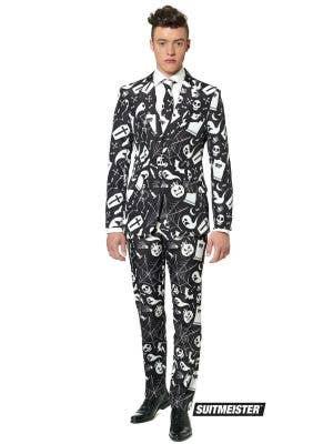 Men's Black Halloween Print Suitmeister Opposuit Costume Main Image