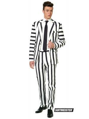 Men's Stripped Black and White Fancy Dress Suit Suitmeister Main Image