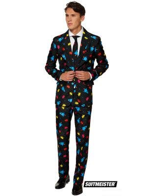 Men's Videogame Space Invader Print Suitmeister Suit Main Image