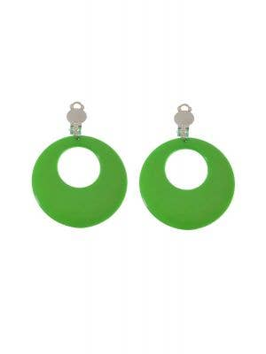 Women's Green and Silver Clip On 1980's Earrings Costume Accessory - Main Image