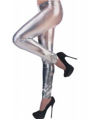 Women's Metallic Silver Leggings