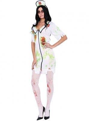 Womens White and Green Zombie Nurse Costume