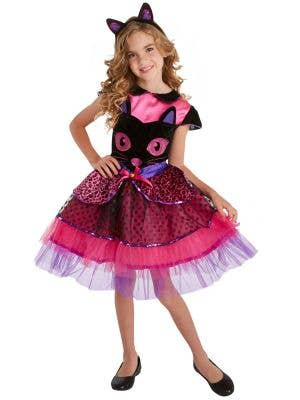 Girls Cute Pink and Black Cat Face Halloween Costume Main Image