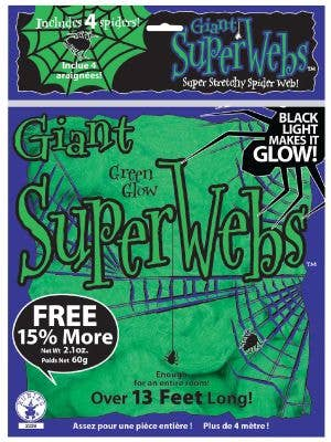 Giant Green Glow Stretch Spider Webbing Halloween Decoration