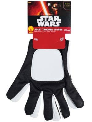 Rubies Mens Black And White Storm Trooper Gloves Image 1