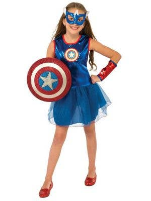 Superhero Girl's Captain America Fancy Dress Front View