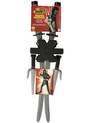 Set of 2 Dragon Ninja Costume Swords, Novelty Daggers and Sheath for Kids