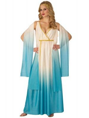 Blue and Cream Greek Goddess Athena Costume for Women