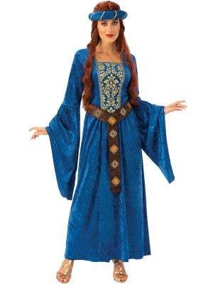Blue Velvet Medieval Maiden Dress Up Costume with Gold Highlights