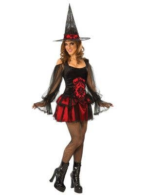 Red and Black Temptress Witch Women's Halloween Fancy Dress Costume