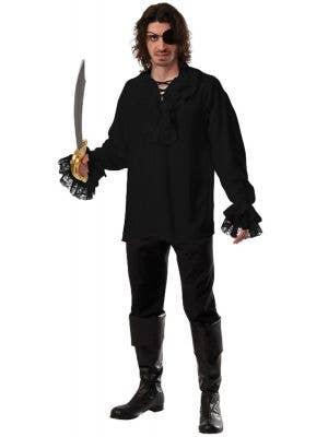 Ruffled Black Pirate Costume Shirt for Men
